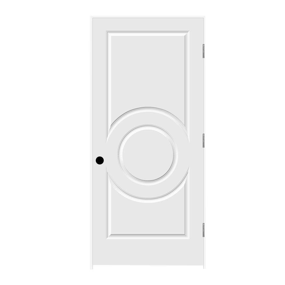 JELD-WEN 36 in. x 80 in. Primed Left-Hand C3140 3-Panel Premium Composite Single Prehung Interior Door