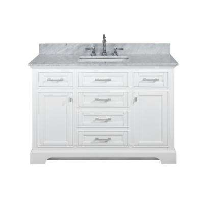 Milano 48 in. W x 22 in. D Bath Vanity in White with Carrara Marble Vanity Top in White with White Basin