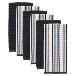 T-Fal Neutral/Charcoal Solid and Stripe Waffle Terry Kitchen Dish Towel  (Set of 6)