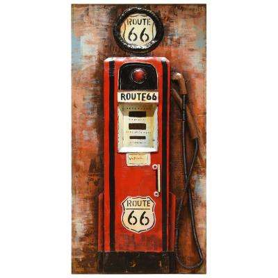 """48 in. x 24 in. """"Gas Pump"""" Mixed Media Iron Hand Painted Dimensional Wall Art"""