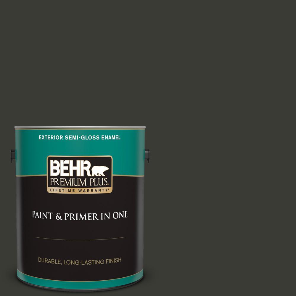 BEHR Premium Plus 1 gal  #ECC-10-2 Jet Black Semi-Gloss Enamel Exterior  Paint and Primer in One