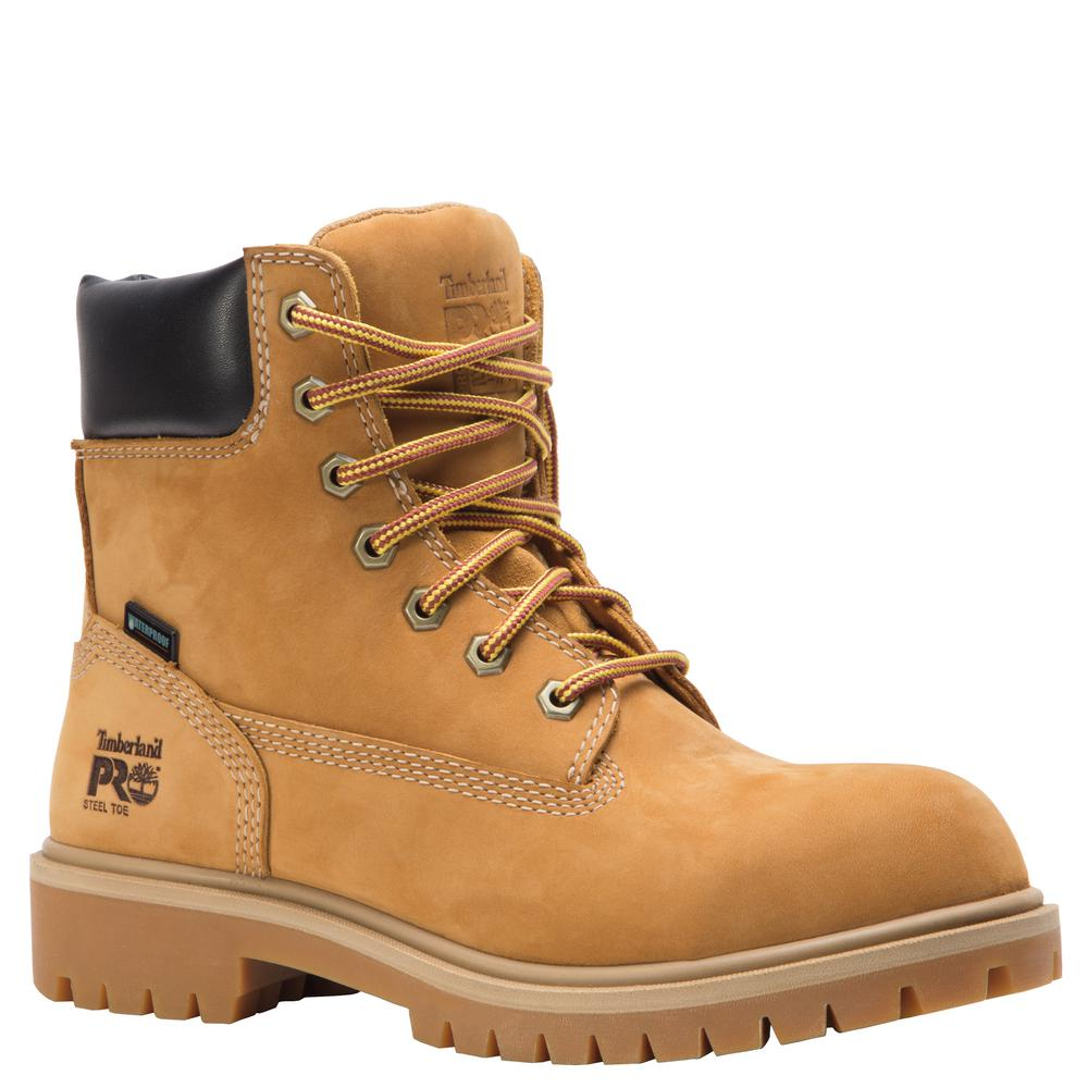 pretty cheap reliable quality hot sale Timberland PRO Women's Direct Attach Waterproof 6'' Work Boots - Steel Toe  - Wheat Size 6(M)