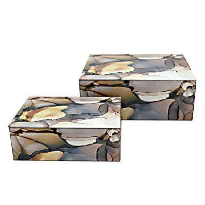 10 in. x 7.75 in. Glass Boxes in Brown (Set of 2)