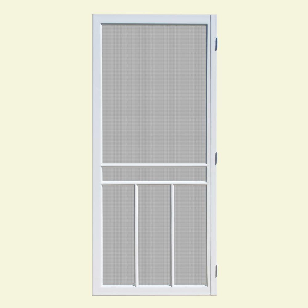 Unique Home Designs 32 In X 80 In Newport White Outswing Vinyl Hinged Screen Door