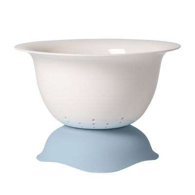 Clever Cooking 2-Piece Porcelain White with Blue Strainer and Serving Bowl Combo