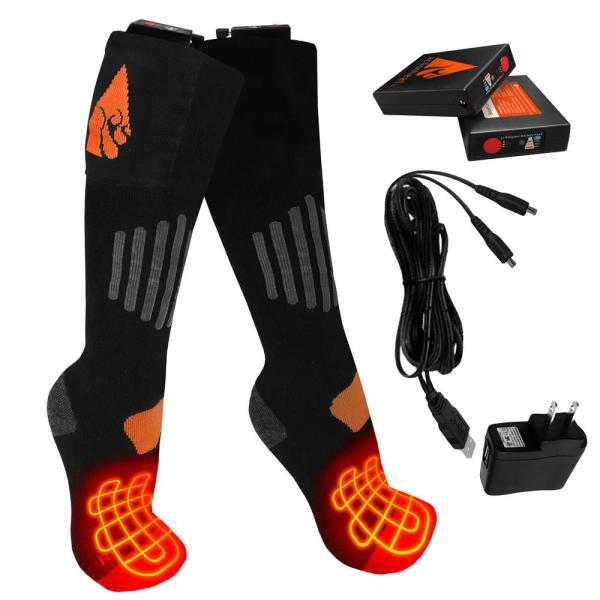 HonTaseng Heated Socks for Men Women Fishing 3 Heating Settings Upgraded Thermal Sock Warm Cotton Socks for Outdoor Sport Camping Cycling Motorcycling Skiing Rechargeable Electric Socks