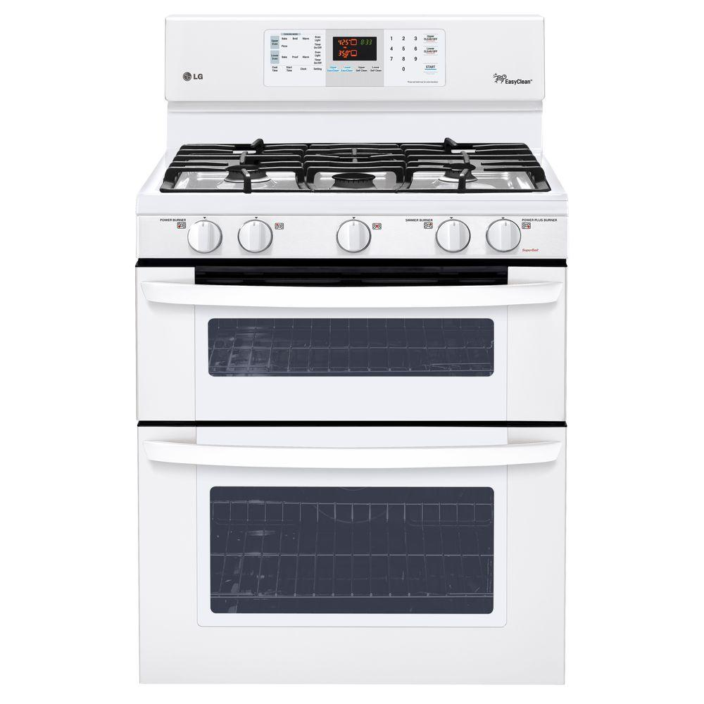LG Electronics 6.1 cu. ft. Double Oven Gas Range with EasyClean Self-Cleaning Oven in Smooth White