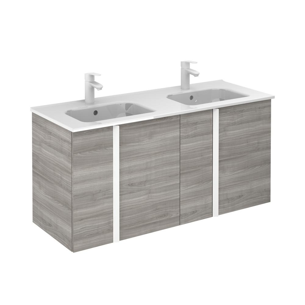 ROYO Onix 48 in. W x 18 in. D Vanity with Doors in Sandy Grey with Ceramic Vanity Top in White