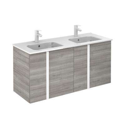 Onix 48 in. W x 18 in. D Vanity with Doors in Sandy Grey with Ceramic Vanity Top in White