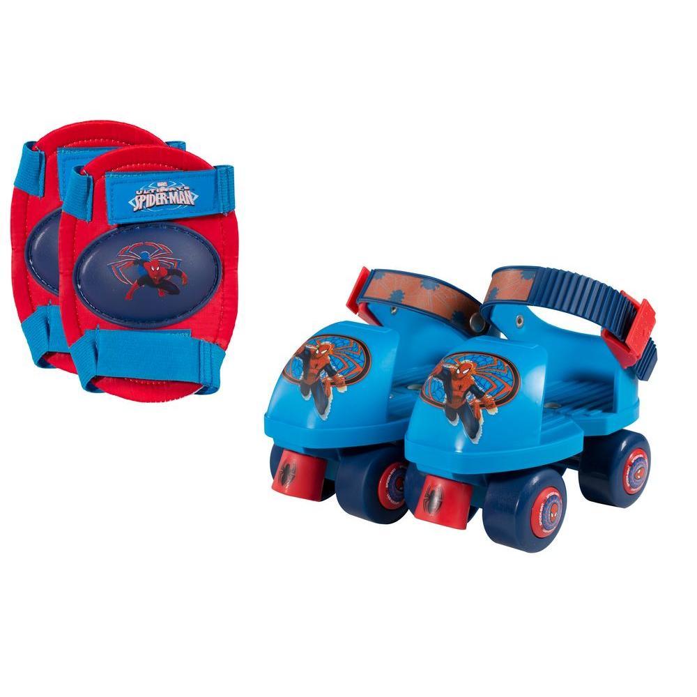 Marvel Spider Man Junior Size 6 - 12 Kids Roller Skates with Knee Pads