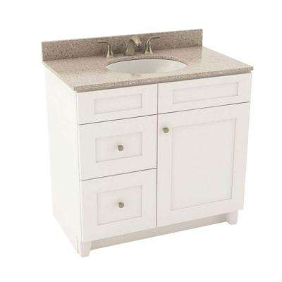 Reading 37 in. Vanity in Linen with Left Drawers and Silestone Quartz Vanity Top in Alpina White and Oval White Sink