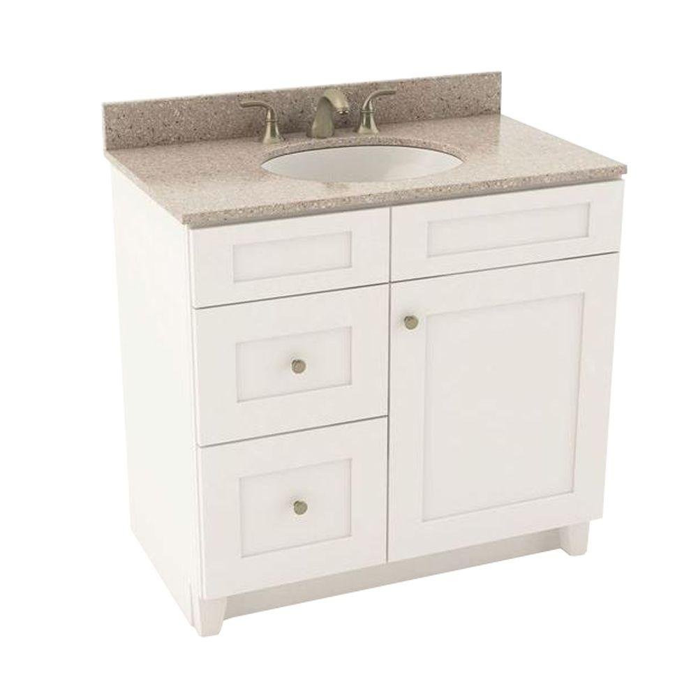 American Woodmark Reading 37 in. Vanity in Linen with Left Drawers and Silestone Quartz Vanity Top in Alpina White and Oval White Sink