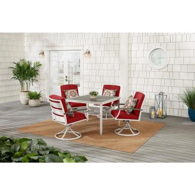 Marina Point White Steel Outdoor Patio Swivel Dining Chair with CushionGuard Chili Red Cushions (2-Pack)