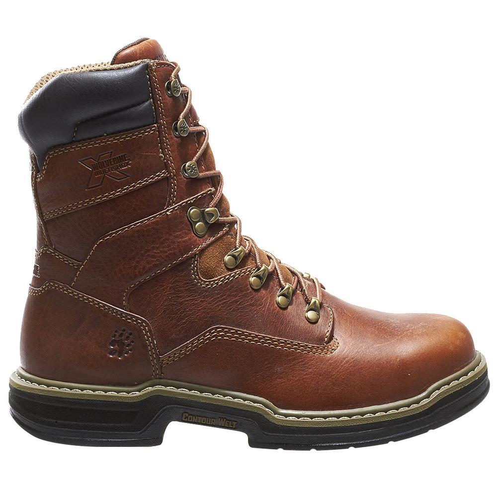 98ca3dea695 Wolverine Men's Raider Size 10M Brown Full-Grain Leather Steel Toe 8 in.  Boot