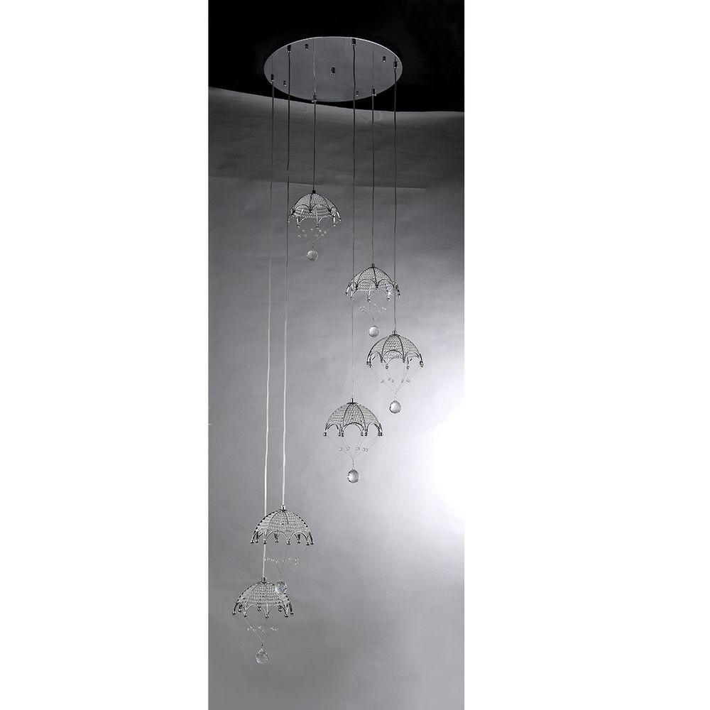 Warehouse of Tiffany Cnidaria II Crystal Cascading 6-Light Chrome Chandelier with Shade