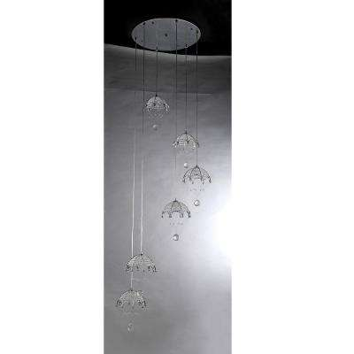 Cnidaria II Crystal Cascading 6-Light Chrome Chandelier with Shade