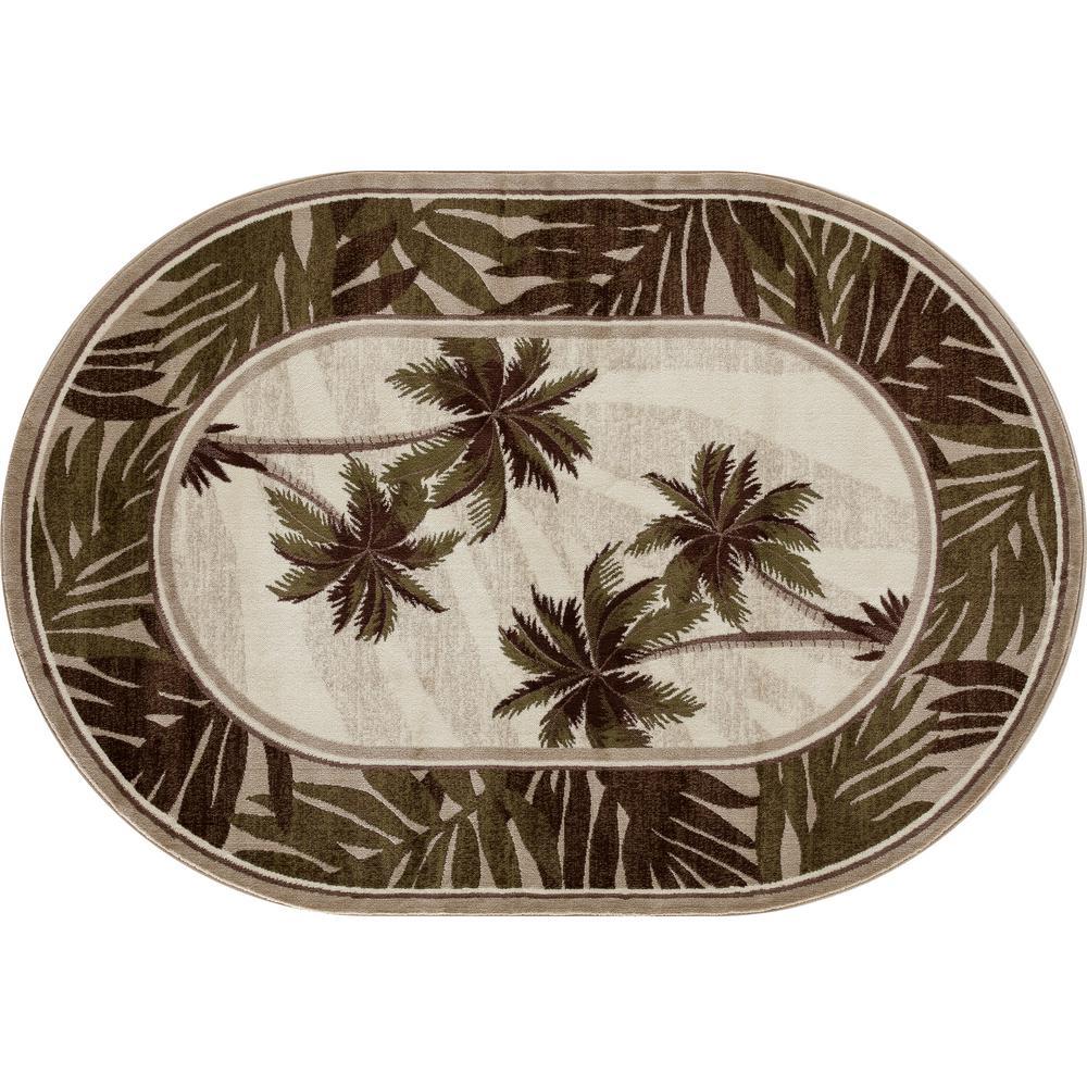 Art Carpet Palm Coast Frond Green 5 Ft X 8 Ft Oval Area