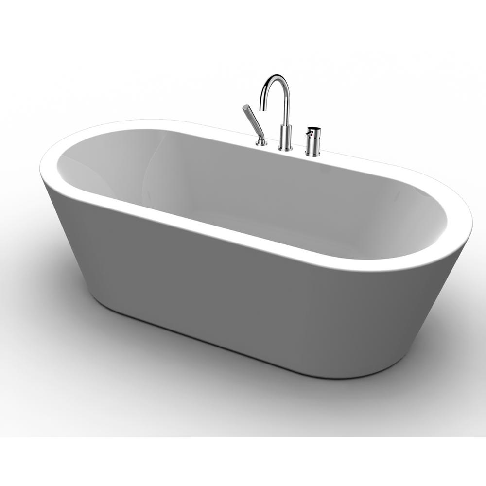 Acrylic Freestanding Flatbottom Non Whirlpool Bathtub In White All