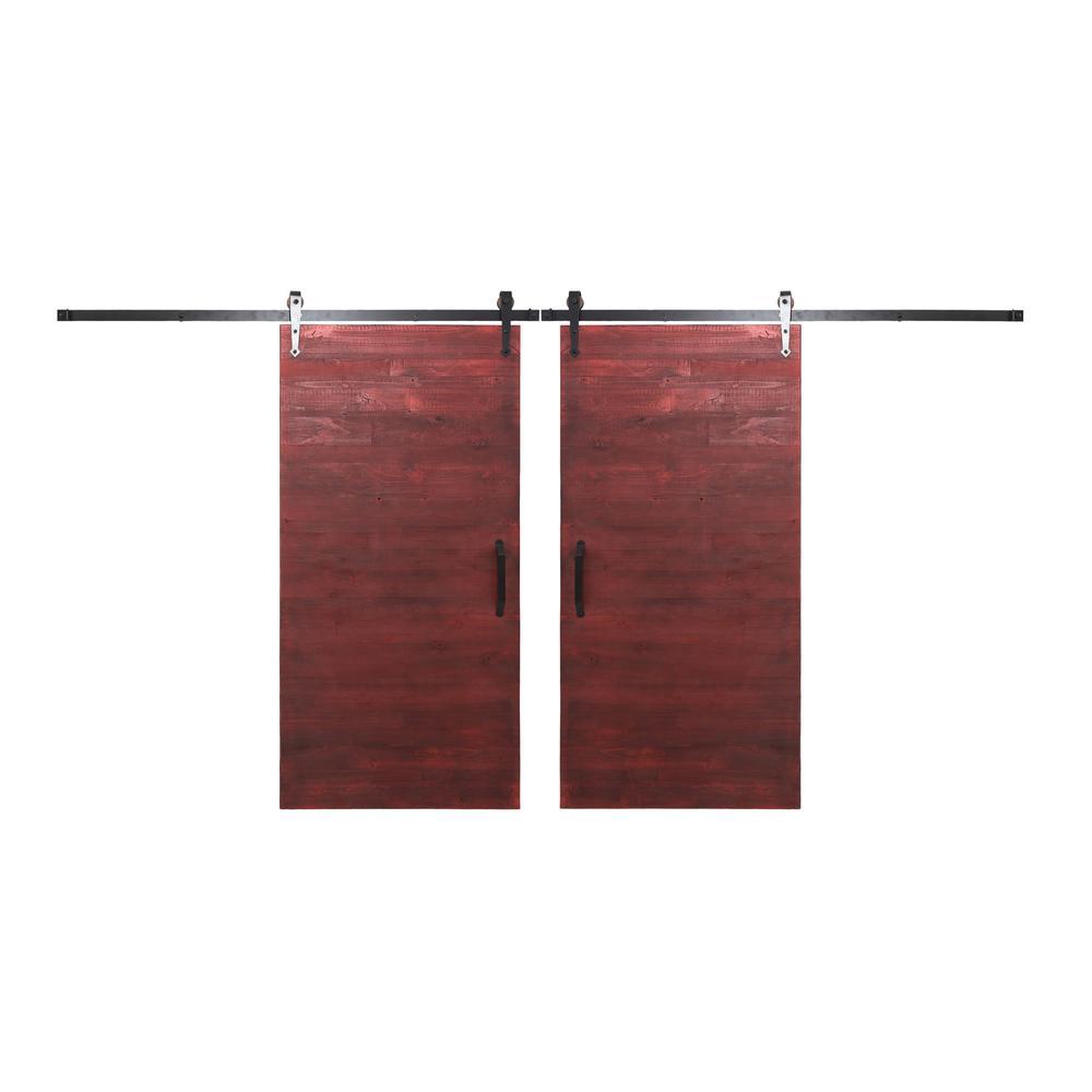 red barn door. Rustica Hardware Bi-Parting 42 In. X 84 Reclaimed Barn Red Door I