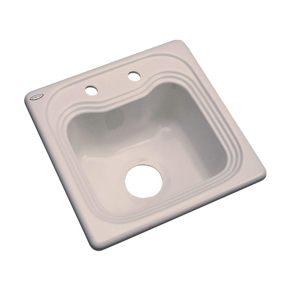 Thermocast Oxford Drop-In Acrylic 16 in. 2-Hole Single Bowl Kitchen Sink in Fawn beige