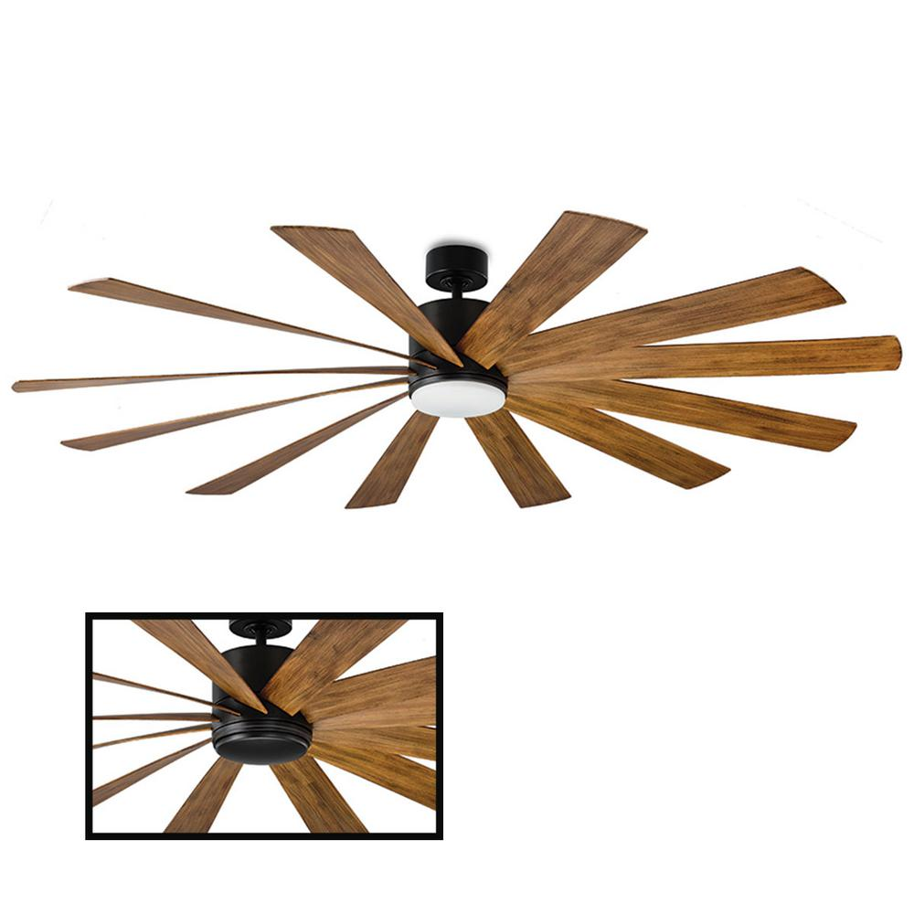 Modern Forms Windflower 80 in. LED Indoor/Outdoor Matte Black 12-Blade Smart Ceiling Fan with 3000K Light Kit and Wall Control