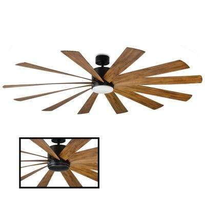 Windflower 80 in. LED Indoor/Outdoor Matte Black 12-Blade Smart Ceiling Fan with 3000K Light Kit and Wall Control