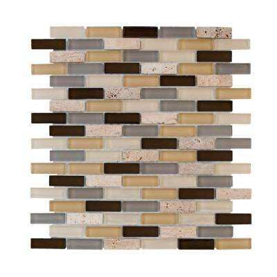 Castle Stone Brick 12 in. x 12 in. x 8 mm Glass Travertine Mosaic Wall Tile