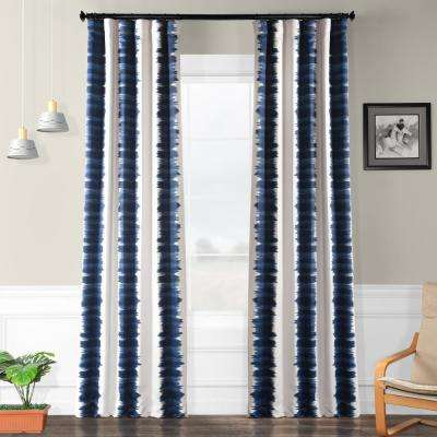 Semi-Opaque Flambe Blue Blackout Curtain - 50 in. W x 96 in. L (Panel)