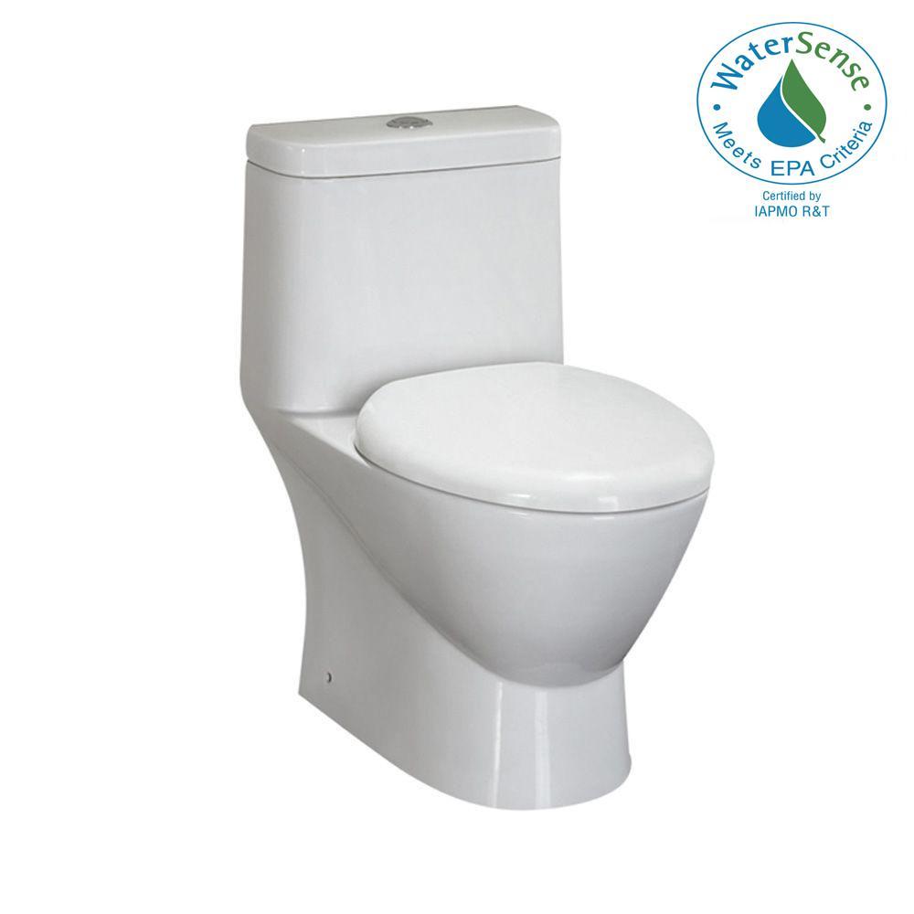 1-Piece 1.6 GPF Round Toilet in White