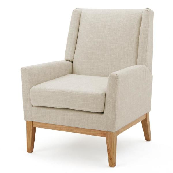 Noble House Sariyah Beige Fabric Wing Back Accent Chair