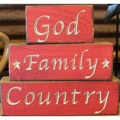 Red Pine Wood Sign (set of 3)