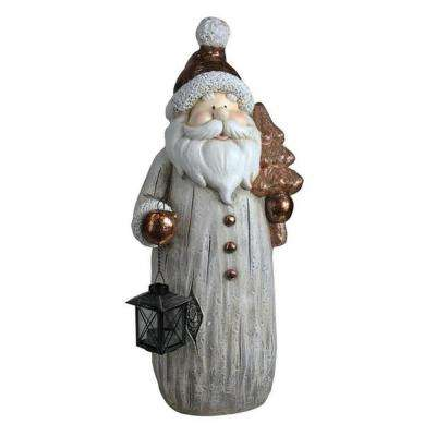 23.75 in. Weathered Santa with Tea Light Candle Lantern and Tree Christmas Figure
