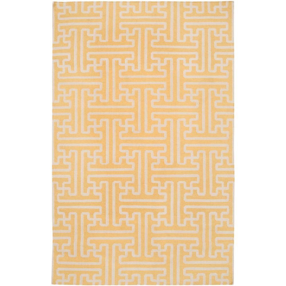 Surya Smithsonian Yellow 5 ft. x 8 ft. Flatweave Area Rug