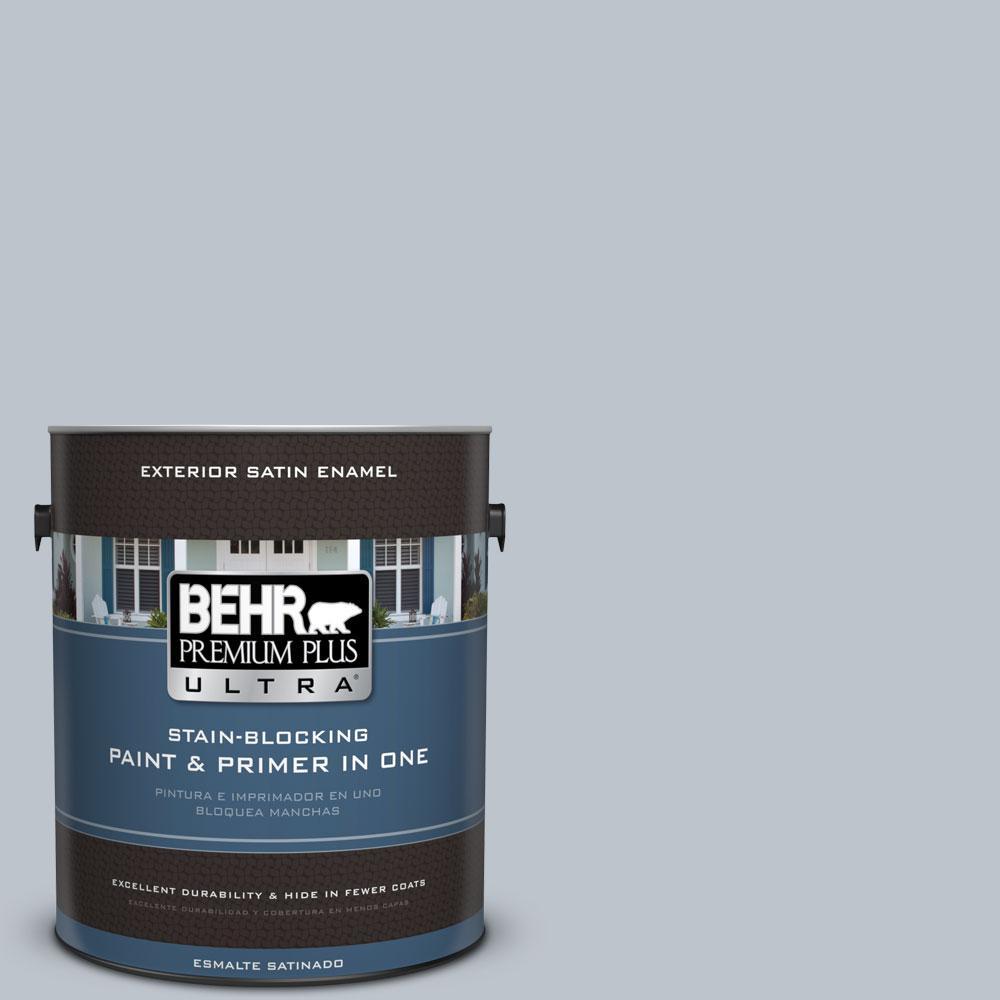 BEHR Premium Plus Ultra 1-gal. #N490-2 Icicles Satin Enamel Exterior Paint