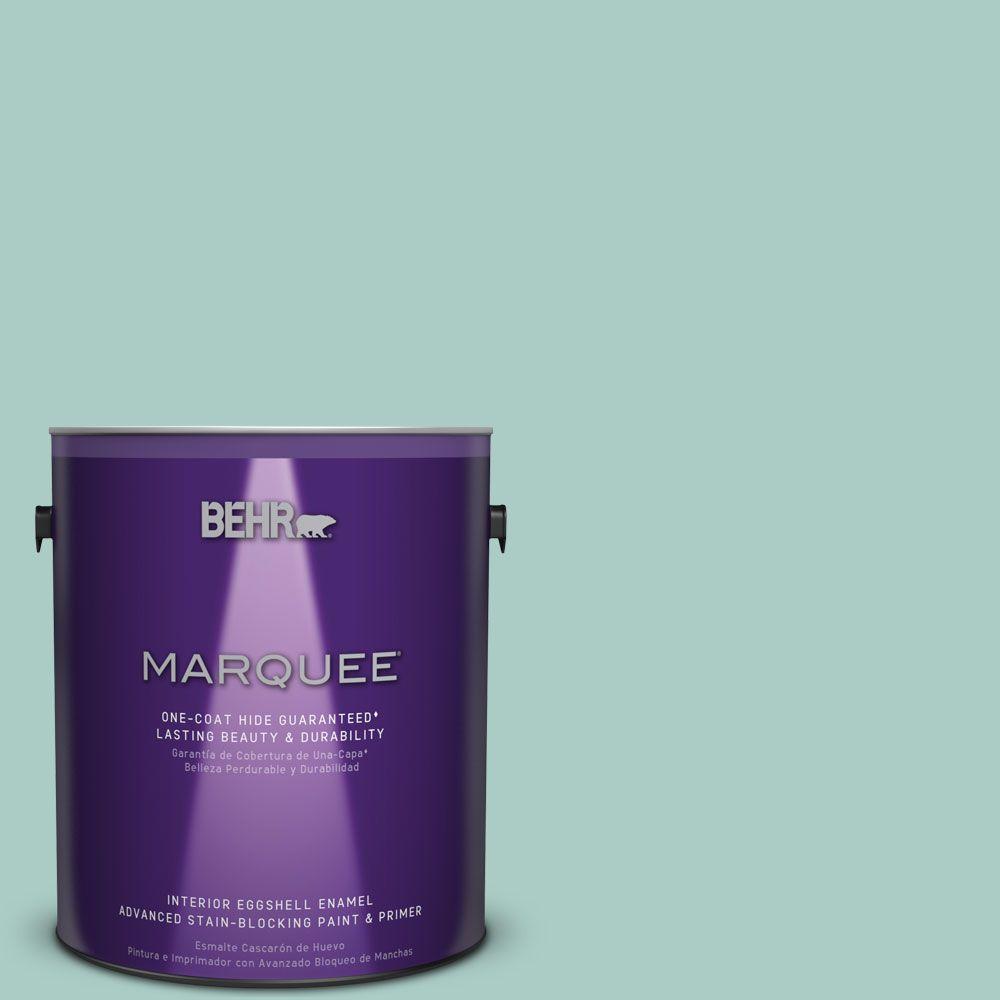 1 gal. #M440-3 Baby Aqua One-Coat Hide Eggshell Enamel Interior Paint