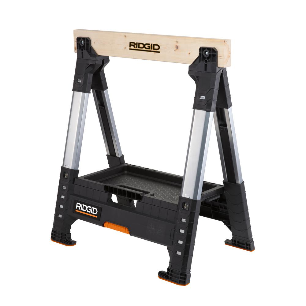 RIDGID 32 in. Adjustable Folding Sawhorse