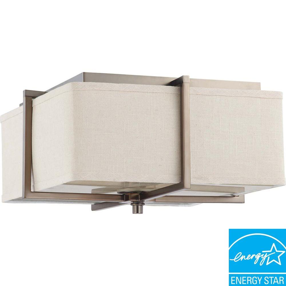 Glomar 2-Light Square Flush with Khaki Fabric Shade Finished in Hazel Bronze - (2) 13w GU24 Lamps Included -DISCONTINUED