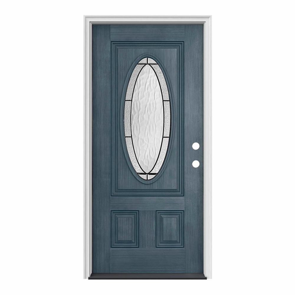 36 in. x 80 in. 3/4 Oval Lite Wendover Denim Stained Fiberglass Prehung Left-Hand Inswing Front Door