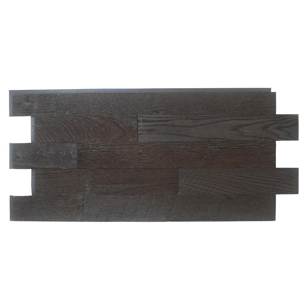 Faux Barnwood Panel 1-1/4 in. x 52-1/4 in. x 23 in. Double Espresso Polyurethane Interlocking Panel