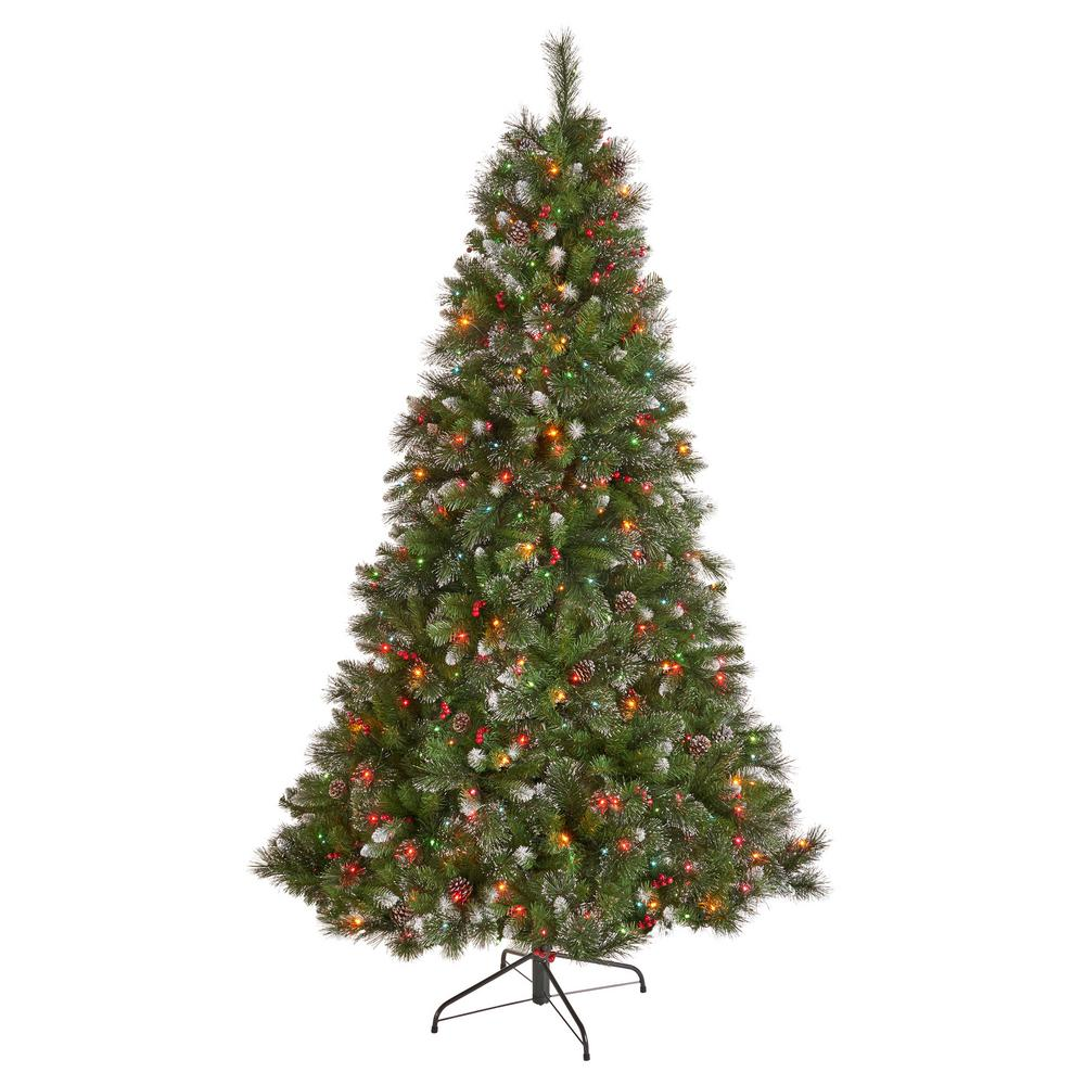 Multi Color Pre Lit Christmas Trees: Noble House 7 Ft. Pre-Lit Mixed Spruce Hinged Artificial