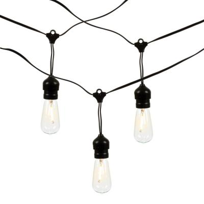 Outdoor/Indoor 2 ft. L Solar Patio Light Strings with 10 ST40 Bulbs (20-Bulbs Total) (Set of 2 )