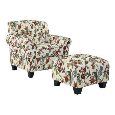 Winnetka Arm Chair and Ottoman In Cream Multi Floral with Birds