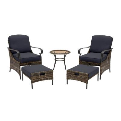 Layton Pointe 5-Piece Brown Wicker Outdoor Patio Conversation Seating Set with CushionGuard Midnight Navy Blue Cushions