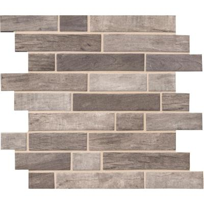 Driftwood Interlocking 12 in. x 12 in. x 6 mm Glass Mesh-Mounted Mosaic Tile (14.55 sq. ft. /case)