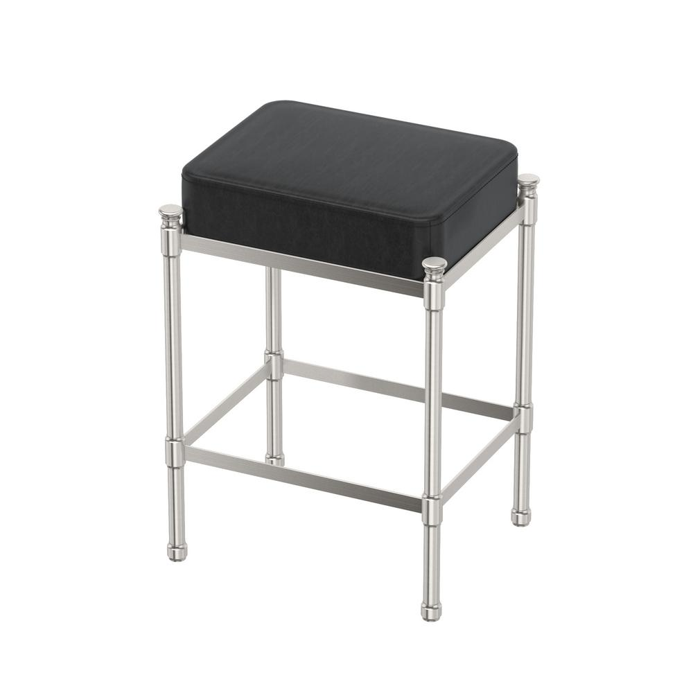 Gatco Rectangle Black Vanity Stool In Satin Nickel