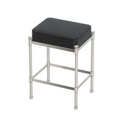 Rectangle Black Vanity Stool in Satin Nickel