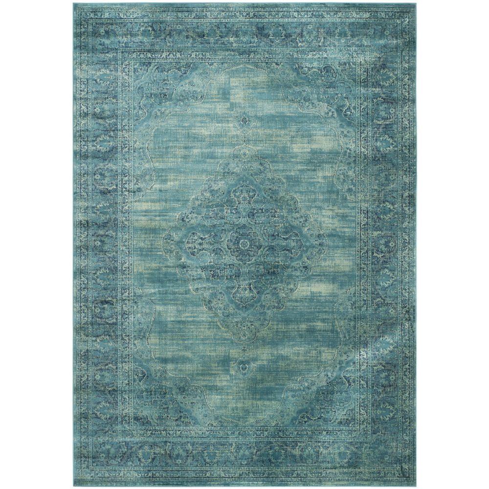 Vintage Turquoise/Multi 8 ft. x 11 ft. Area Rug