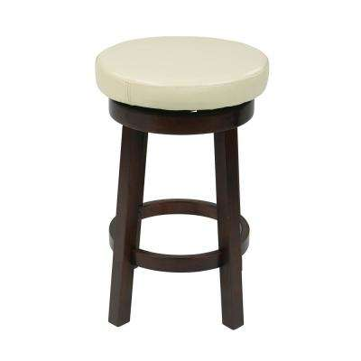Metro 24 in. Cream Faux Leather Round Barstool