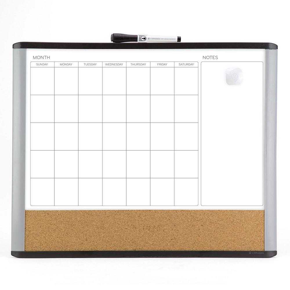 U Brands Magnetic Dry Erase 3 In 1 Calendar Board 20 In X 16 In