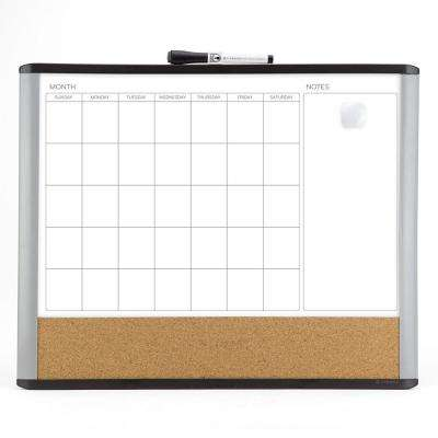 Magnetic Dry Erase 3-in-1 Calendar Board 20 in. x 16 in. Black and Gray Frame
